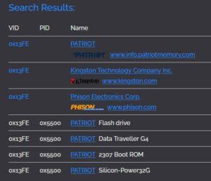 USBデバイスの検索結果例